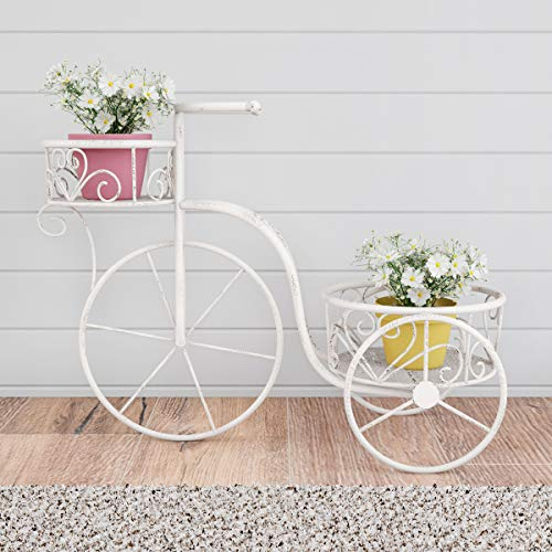 Pure Garden 50-LG1162 Tricycle Plant Stand - 2-Tiered Indoor or Outdoor Decorative Vintage Look Display for Patio, Deck, Home or Lawn (Antique White) (Tricycle Plant Stand)