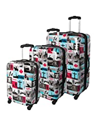 Atlantic Canadiana 3-Piece Hard Side 4-Wheeled Expandable Luggage Set - Multi-colour
