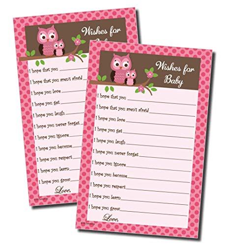 Wishes for Baby - Baby Shower Game - Pink Owl (50-sheets) ()