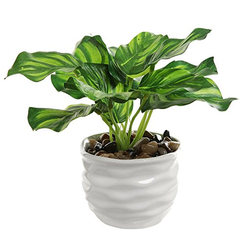 Modern 4 Inch Small Tabletop Potted Artificial Plant / Faux Home Greenery w/ White Ridged Ceramic Pot - MyGift®
