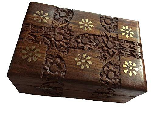 Wooden Inlay Work - IndiaBigShop Wooden Handmade Beautiful Flower Carving and Brass Inlay Work with Velvet Interior Decorative Trinket Jewelry Box Organiser 8 Inch