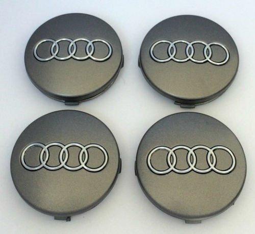 Audi Lot de 4 protections de jantes en alliage Cache-moyeu central 60 mm Gris Pour modè les 8B0601170 S3 S4 A2 A3 A4 A6 A8 TT RS4 Q5 Q7 S6 RS6 TT et autres anatoaz