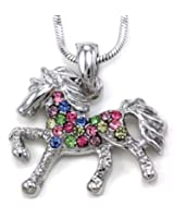 SoulBreezeCollection Multicolor Horse Necklace Pony Mustang Animal Pendant Charm Ladies Women