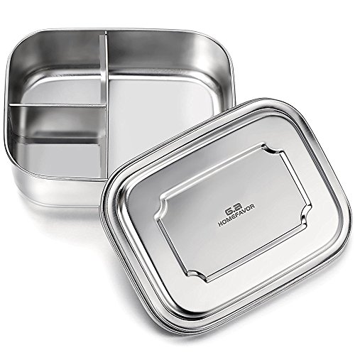 GA Homefavor Stainless Steel Bento Lunch Box 35 Ozs, 3-Compartment Pefect for Adults and Kids by G.a HOMEFAVOR