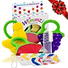 Baby Infant & Toddler Teething Toys Set of 5: 3 Fruit Teethers + Pacifier/Teether Clip Holder + Finger Toothbrush/Massager & Case   Best Relief for Sore Gums   BPA-Free Freezer Safe Silicone   WIMMZI