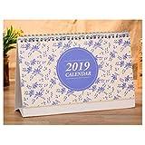 Baiye 2018-2019 Desk Calendar, Runs from October 2018 to December 2019, Twin-Wire Binding, Desktop Calendar Monthly Planner Daily Calendar Planner for School, Office, Home Use - Blue Flower Pattern