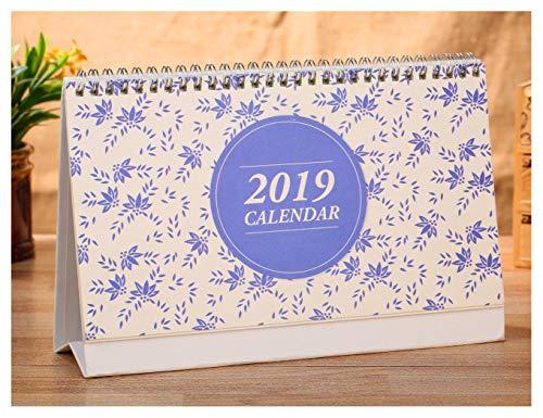 Desk Calendar 2018-2019, Runs from October 2018 to December 2019, Twin-Wire Binding, Desktop Calendar Monthly Planner Daily Calendar Planner for School, Office, Home Use - Blue Flower Patter (Calendar Spiral Bound Desk)