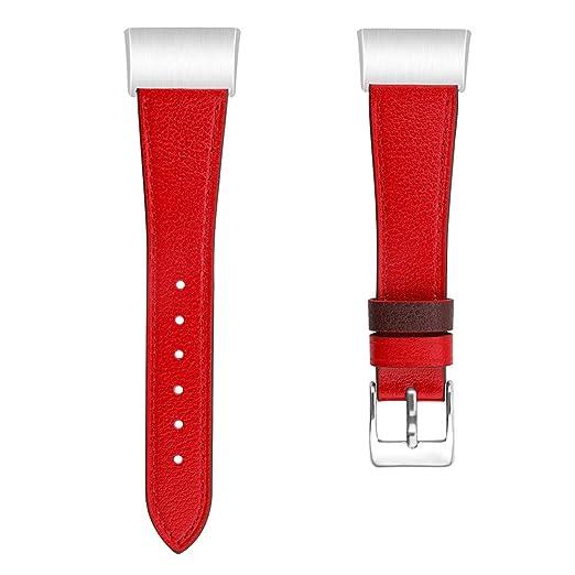 Correa de Piel para Reloj Inteligente Fitbit Charge 3, diseño de Pavo, Color Rosso: Amazon.es: Relojes