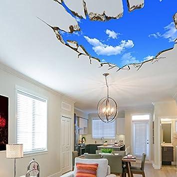 Bleu Ciel 3d Plafond Mur Autocollant Salon Canape Autocollants De