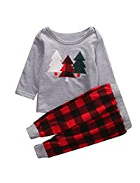 Kids Toddler Baby Girl Boy Christmas Outfit Sweater Tops+Plaid Long Pants Set
