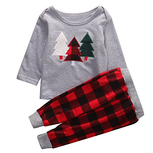 2Pcs Kids Toddler Baby Girl Boy Christmas Outfit, Long Sleeve Sweater Tops+Plaid Long Pants Set (2-3 Years, Grey+Red)