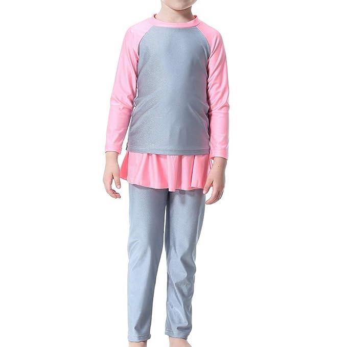 f95b83e01d BESTOYARD 1 Pc Muslim Hui Girls Swimsuit Long-Sleeved Stitching Conservative  Split Swimwear H2002 for Girls and Teens-90cm(Grey): Amazon.co.uk: Clothing