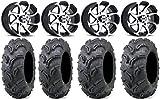 "Bundle - 9 Items: ITP Twister 14"" Wheels Machined 27"" Zilla Tires [4x137 Bolt Pattern 12mmx1.5 Lug Kit]"