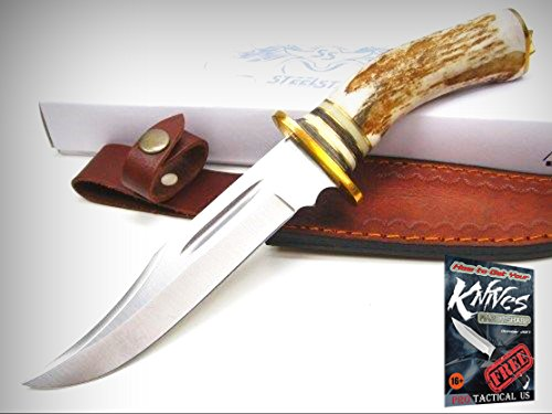 Skinner Stag Handle (STEEL STAG Stag EL DORADO Skinner Straight Fixed Blade Knife + Sheath! 7001 + free eBook by ProTactical'US)