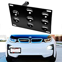 iJDMTOY Euro Style Front Bumper Tow Hole Adapter License Plate Mounting Bracket For 2014-up BMW i3