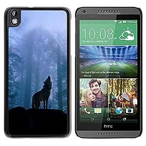 Paccase / SLIM PC / Aliminium Casa Carcasa Funda Case Cover - Nature Howling Wolf - HTC DESIRE 816