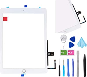 "White Digitizer Repair Kit for iPad 9.7"" 2018 iPad 6 6th Gen A1893 A1954 Touch Screen Digitizer Replacement with Home Button + Adhesive + Tools"