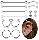 FIBO STEEL 12Pcs Stainless Steel Industrial Barbell Cartilage Tragus Daith Helix Conch Piercing Earrings