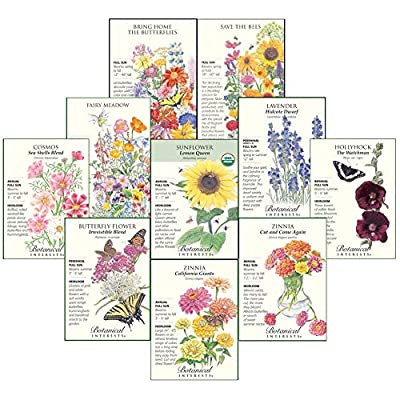 """Botanical Interests""""Bees, Butterflies, and Hummingbirds"""" Flower Seed Collection - 10 Packets with Gift Box : Garden & Outdoor"""