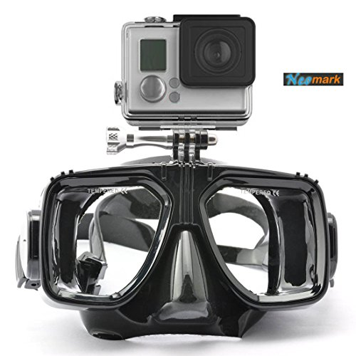 Neomark® Scuba Diving Kit 2-in-1 Mask Mount Black Frame with Black Silicone Frame for Sports Camera GoPro Hero4 Hero3+ Hero3 Plus Floating Buoyancy Grip
