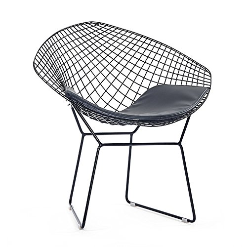 Simple casual dining chair chair / iron creative back chair / industrial wind design, simple and stylish ( Color : Black ) by Xin-stool