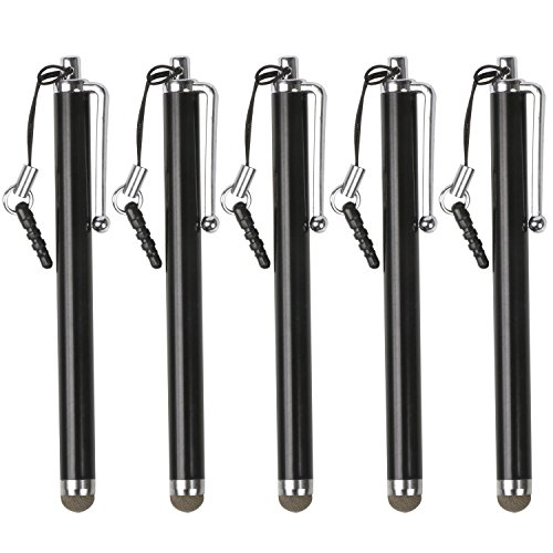 trixes-black-microfiber-stylus-pen-5-pack-for-smartphone-tablet-capacitive-touch-screens