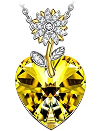 Woman's ❤️Sunflower❤️ Heart Swarovski Crystals Pendant...