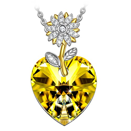 Kate Lynn Womens Yellow Heart Sunflower Swarovski Crystals Pendant Necklace for Daughter Birthday Gift for Wife