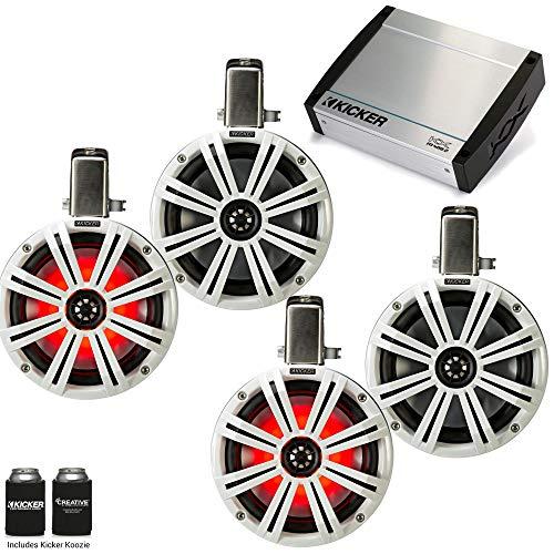 """Kicker Tower System - Four White Kicker 8"""" LED Wake Tower Speakers w/Swivel Clamps & KXM4002 400 Watt Amplifier"""