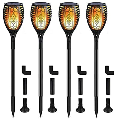 TAIYANG Solar Torch Light with Flickering Flames Outdoor Solar Dancing Flame Light Landscape Decoration 96 Led Waterproof Security Path Torches Light Garden Patio Driveway