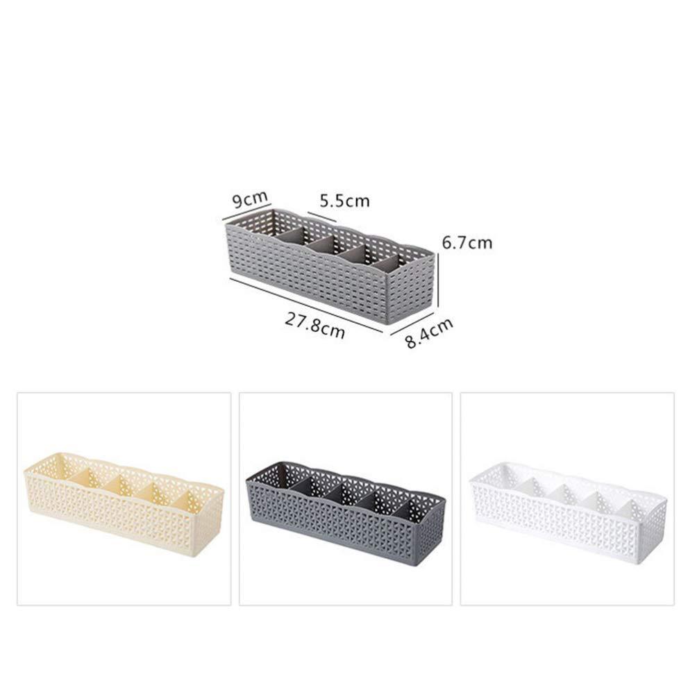 Cabilock Organizador de cajas de almacenamiento de divisor de cajones organizador de armario de pl/ástico de cinco rejillas para calcetines de ropa interior 6piezas blanco caqui gris