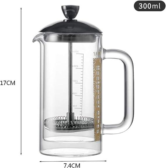 Cafetera Francesa, Olla filtrante Yami, Revestimiento de Acero Inoxidable, Vidrio Doble, Dispositivo de ordeño, Tetera, Olla a presión: Amazon.es: Hogar
