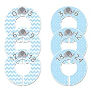 Closet Doodles C40 Elephant Blue Baby Boy Clothing Dividers Set of 6 Fits 1.25inch Rod