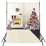 DODOING Christmas Tree Gift Box Stove White Photo Photography Backdrops Background Studio Prop Vinyl 5X7ft
