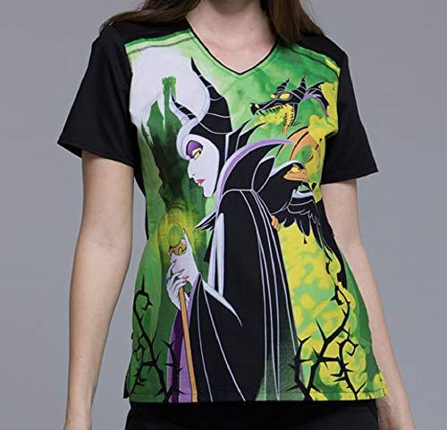 TF694 VIMA 2XL Cherokee Tooniforms Halloween Women's V-Neck Top Maleficent Disney Villains