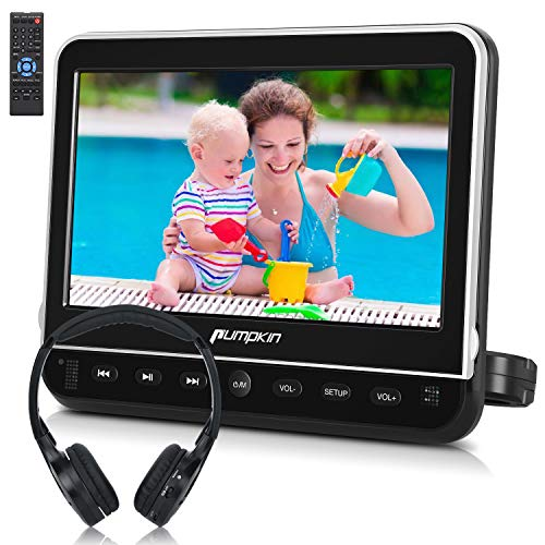 PUMPKIN 10.1 Inch Headrest Car DVD Player with Free Headphone, Support 1080P Video, HDMI Input, AV in Out, Region Free, USB SD