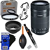 Canon EF-S 55-250mm F4-5.6 IS STM Lens for Canon SLR Cameras (International Version) + 7pc Bundle Accessory Kit w/ HeroFiber Ultra Gentle Cleaning Cloth
