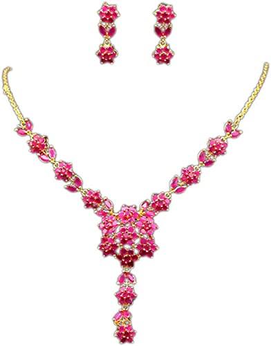 Amazon Com Cristore Red Ruby Wedding Party Jewelry Set 24k Gold