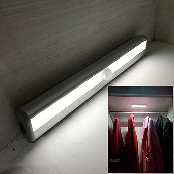 Sensor de movimiento Barra de luz led Cuerpo humano lámpara de inducción control de luz de carga gabinete gabinete escalera coche troncal luz nocturna, 10 luces oro luz blanca batería, 0.5: Amazon.es: