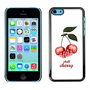 Colorful Printed Hard Protective Back Case Cover Shell Skin for Apple iPhone 5C ( Cherry Skull Berries White Poster )