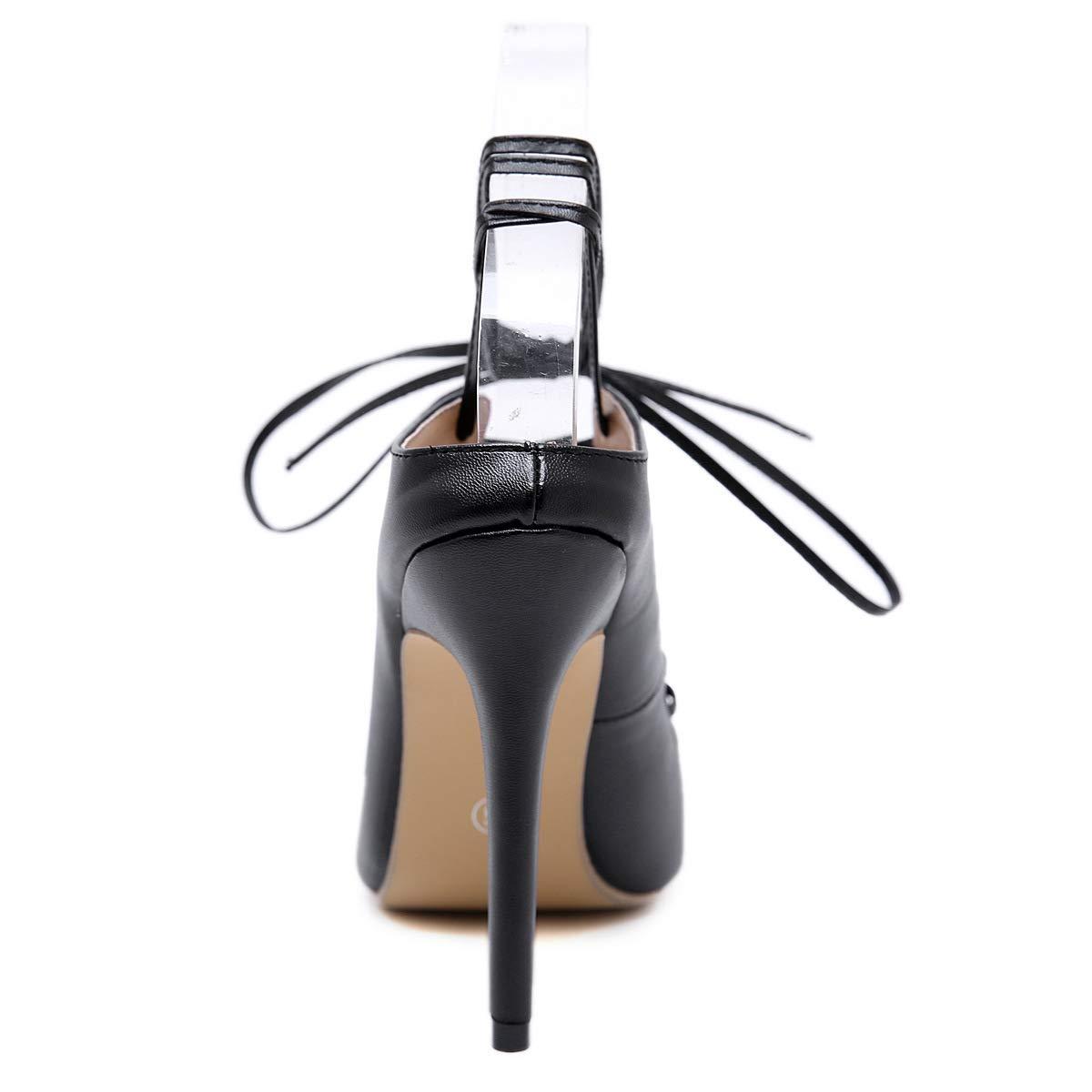 He-yanjing Sandali a a a Stiletto Donna, 2019 Nuovo Modo Versatile a Punta Europeo e Americano Cinghie Tacco Alto Sexy Ladies Sandali,nero,37 6d05b3