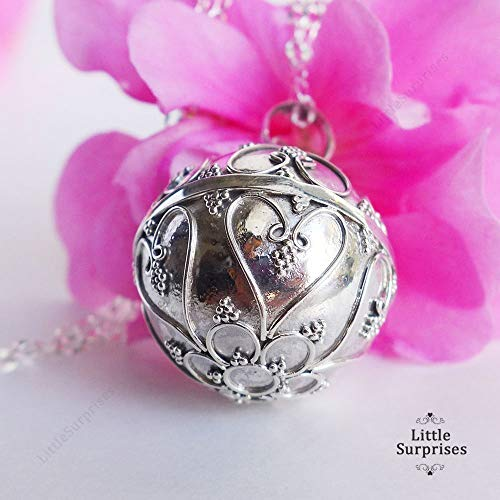 - 20mm Large Filigree Heart Harmony Ball Sterling Silver Pendant Pregnancy Necklace 36