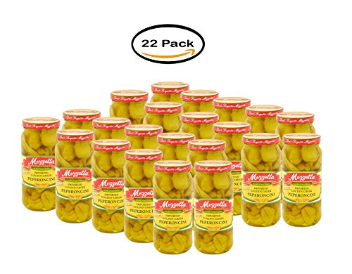 PACK OF 22 - Mezzetta Imported Greek Golden Pepperoncini, 16 fl oz by Mezzetta