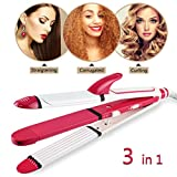 Hair Straightener and Curler, 3-in-1 Ceramic Hair Curling Iron & Hair Straighteners & Crimper Hair Styler Tools Flat Iron with Worldwide Dual Voltage 100~240V
