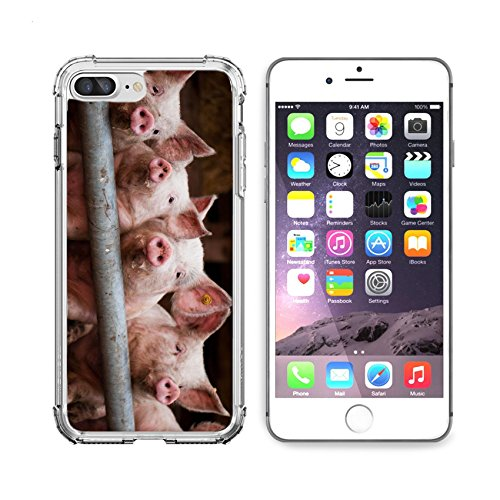 (MSD Apple iPhone 6 plus iPhone 6s plus Clear case Soft TPU Rubber Silicone Bumper Snap Cases iPhone 6plus/6s plus IMAGE of pig farm animal pork piglet pink meat mammal small livestock cute snout agri)