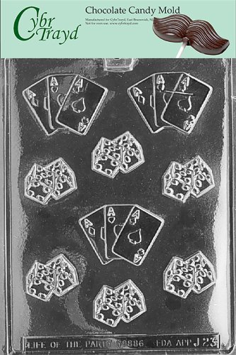 Cybrtrayd Life of the Party J023 Gambling Dice with Aces Cards Chocolate Candy Mold in Sealed Protective Poly Bag Imprinted with Copyrighted Cybrtrayd Molding (Card Chocolate Candy Mold)