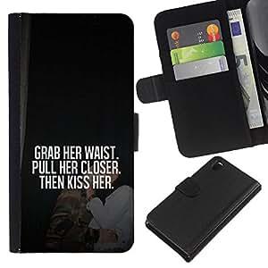 KLONGSHOP // Tirón de la caja Cartera de cuero con ranuras para tarjetas - agarrar amor cita de su amor beso miel - Sony Xperia Z3 D6603 //