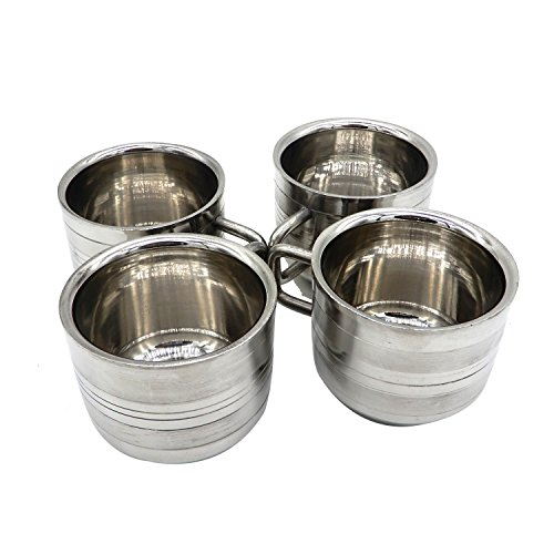 WhopperIndia Coffee Cup Espresso Cup Mug Set of 4, Double Wall Stainless Steel Tea Cups, Reusable & Stackable, Mirror Finish & Dishwasher Safe - 6 Ounce