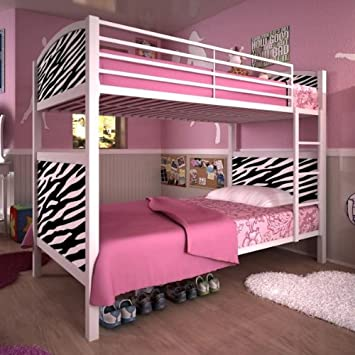 Dhp Printed Panel Twin Twin Bunk Bed Zebra Amazon Co Uk Kitchen Home