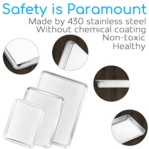 Baking Sheet Set of 3, Bastwe Cookie Tray Pan Stainless Steel Baking Pan, Healthy & Non Toxic, Rust Free & Superior Mirror Finish, Easy Clean & Dishwasher Safe by Bastwe (Image #1)